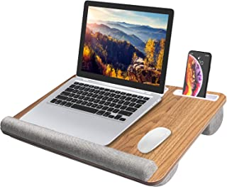 """HUANUO Laptop Tray with Cushion, Laptop Lap Desk, Lapdesk Fit up to 17"""" Laptops, with Tablet, Pen & Phone Holder & Wrist P..."""
