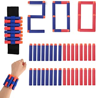 Biulotter 200-Dart Bullets Refill Pack for Nerf N-Strike Elite Dart for N Strike Elite Darts Gun Refill Bullets Including 100pcs Blue Darts and 100 Red Nerf Darts Blasters with Wrist Band