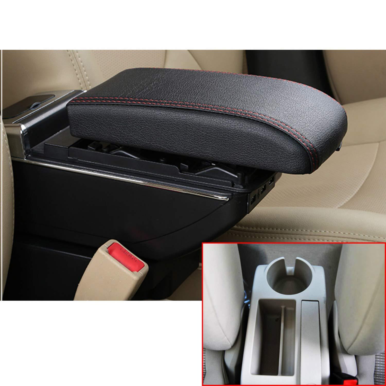 Para Jetta MK5 Golf MK5 Golf 6 Auto Consola Central Apoyabrazos Reposabrazos Accesorios,Con 7 puertos USB puede cargar,Espacio de almacenamiento doble de gran tamaño,La tapa se puede levantar,Tener portavasos,Cenicero extraíble, negro: Amazon.es: