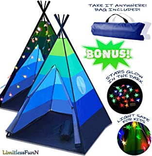 LimitlessFunN Teepee Kids Play Tent Bonus Star Lights & Carrying Case for Girls & Boys, Indoor & Outdoor Use (Blue)