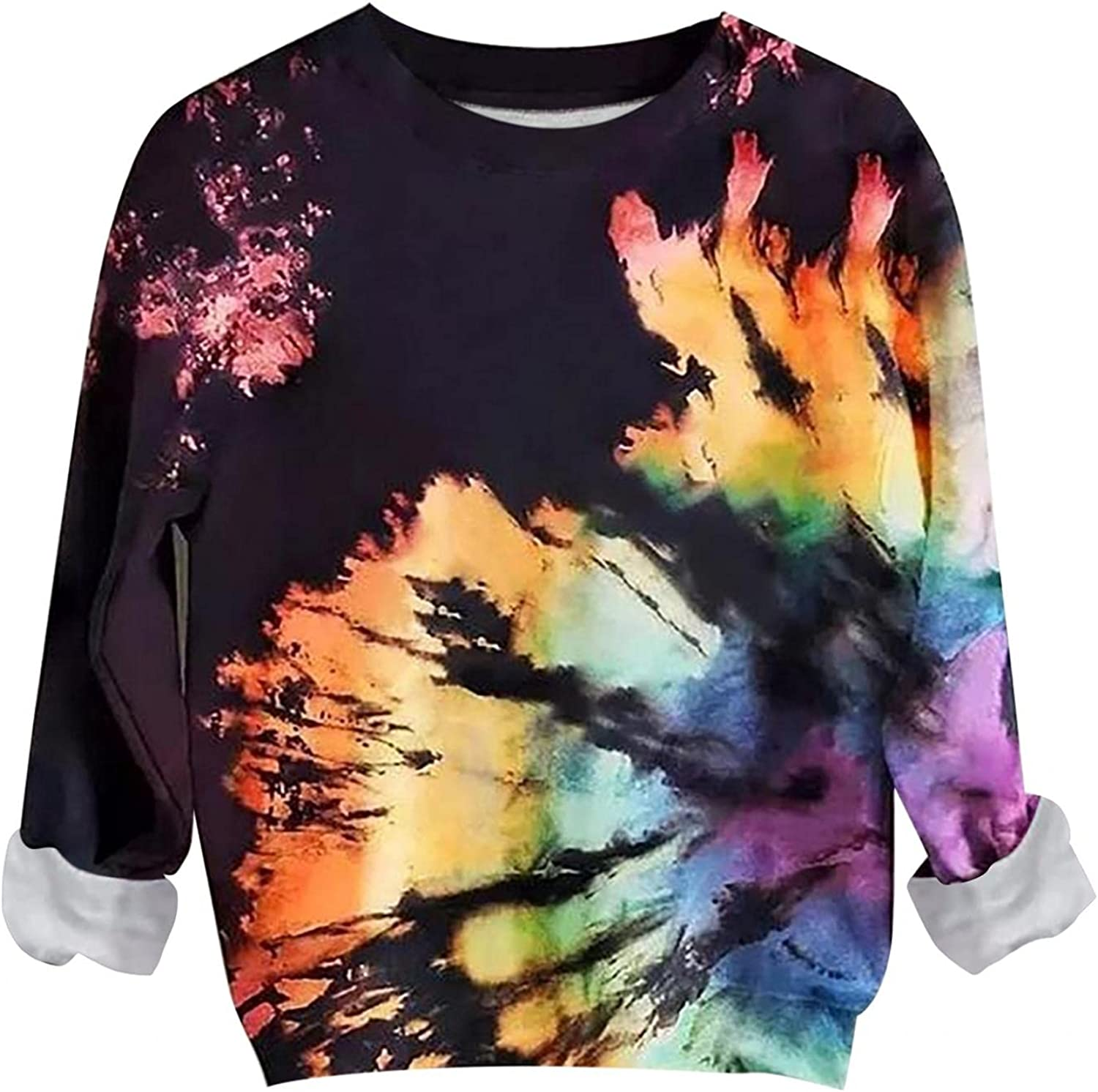 AODONG Sweaters for Women Long Sleeves Rainbow Printed Sweatshirts Fashion O-Neck Loose Fit Blouse Tops