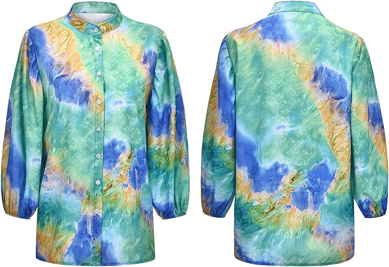 Andongnywell Women's Tie dye Printed Long Sleeve V Neck Chiffon Blouses Tops Button Down Slim Shirts Tunics Ladies