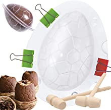 Easter Egg Mold for Giant Chocolate Egg Mold, 2pc Wooden Hammers & Plastic Egg Shape DIY Molds for Candy Mousse Cake - Din...