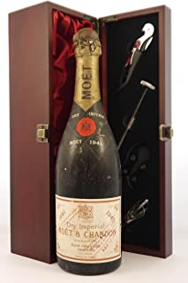Moet and Chandon Dry Imperial Vintage Champagne 1959 (2cm inverted ullage) in a silk lined wooden box with four wine acces...