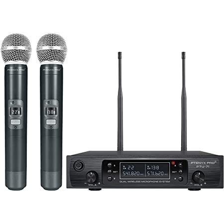 Wireless Microphone System, Phenyx Pro Dual Channel Cordless Mic Set with 2 Handhelds, 2x100 Channels, Auto Scan, Lock Function, 328ft Coverage, Ideal for DJ, Church, Events (PTU-71A)