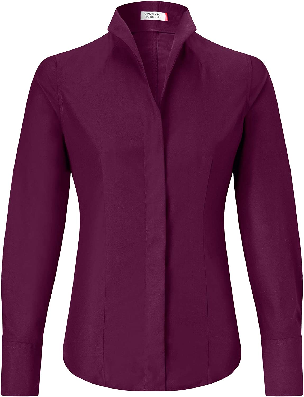 Vincenzo Boretti Damen Bluse mit Kelchkragen leicht tailliert 100% Baumwolle bügelleicht Langarm Hemdbluse mit Stehkragen elegant festlich auch für Business Aubergine