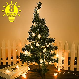 Viixm Crystal String Lights, 30 LED 8 Modes Waterproof String Lights with Remote, Indoor Outdoor Party Wedding Festival Tree Garden Bedroom Decorations, Warm Light