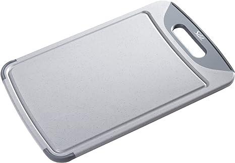 GASTRO Schneidebrett Tranchierbrett Kunststoff Saftrille Füße Grau-Weiß 36 x 23