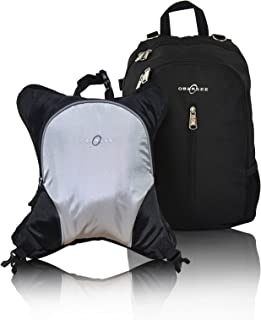 Rio Diaper Backpack with Baby Bottle Cooler and Changing Mat, Shoulder Baby Bag, Food Cooler, Clip to Stroller (Black/Silver Gray) - Obersee