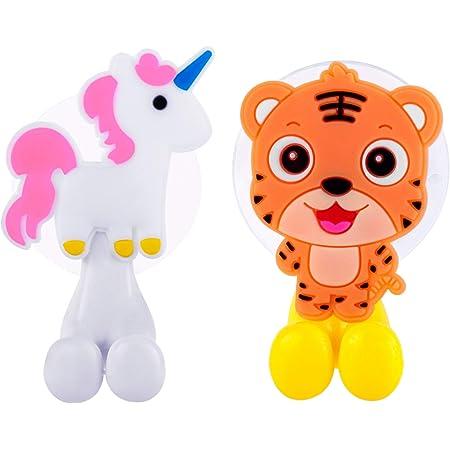 Cartoon Animal Toothbrush Holder Wall Family Bathroom Suction Cup Set Kids YS