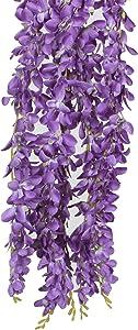 XIUER 4 Pcs/lot 3.12 Feet/piece Artificial Wisteria Hanging Garland Flowers Silk Flower Bush for Wedding Party Home Garden Wall Restaurant Decoration (Purple)
