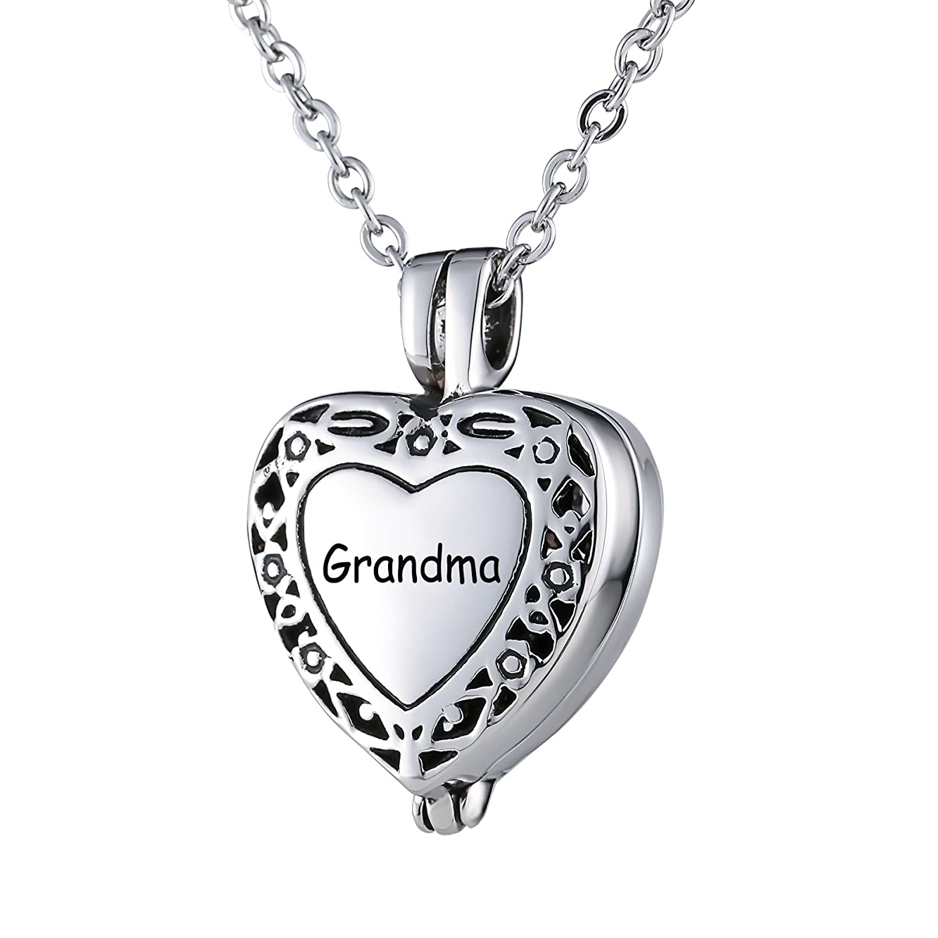 Beydodo Ash Necklace Urn Heart Engraved Families Necklace Stainless Steel Womens Filigree Heart
