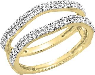 Anillo doble para mujer, 0,48 quilates (peso total), oro de 10 quilates, diamante blanco redondo, 1/2 ct