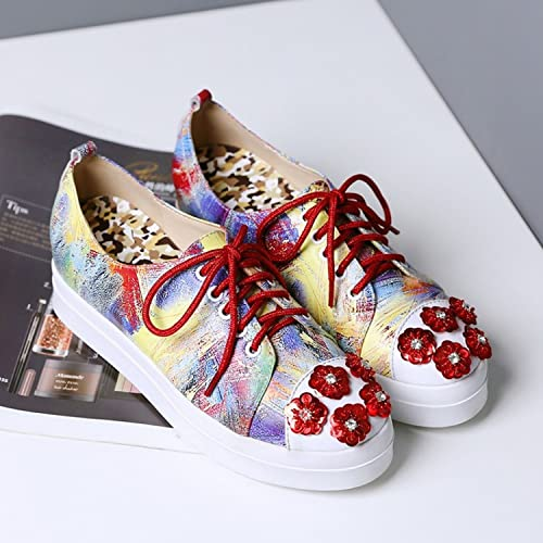 YTTY Chaussures De Combat De Fleurs De Diahommets pour Femmes Chaussures Simples Chaussures De Sport Tête Ronde avec Chaussures à Fond Plat Rouge 35