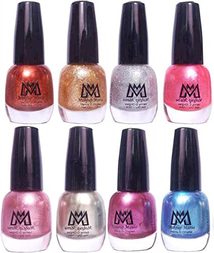 Makeup Mania Premium Unique Glitter Nail Paint Combo (Golden Brown, Pearl and Shimmery Silver, Purple, Metallic Blue, Shining Pink (MM# 11-43)) product image