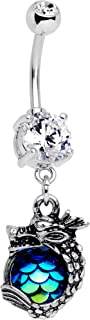 Stainless Steel Clear Accent Iridescent Blue Scale Dragons Egg Dangle Belly Ring