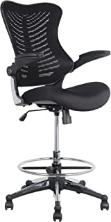 Office Factor Stool Clerk Teller Drafting Chair Reception Black Mesh Flip up Armrest Molded Seat with a Single Handle Mechanism (Stool Black MESH Fabric)
