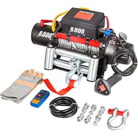 Load Capacity:9500-10000lbs OPENROAD 9500lbs Electric Winch 12V DC Water Proof IP67 Recovery Winch with Cable All Black Design Come with Overload Protection Winch Dust Cover and 1 Wireless Remotes