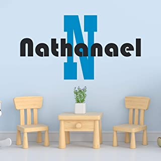 Personalized Boy's Name And Initial Wall Decal, Choose Your Own Name, Initial And Letter Styles, Multiple Sizes, Custom Name & Initial, Bedroom Decoration, Wall Decal, Vinyl Wall Stickers For Kids
