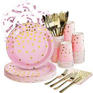 "Pink and Gold Party Supplies Set - 168PCS Pink Paper Plates Disposable Dinnerware Set Dots 7"" & 9"" Paper Plates Napkins Cu..."