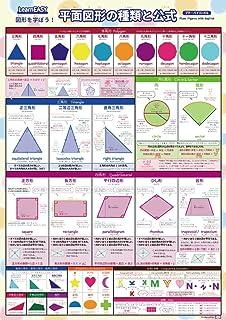 1枚で 平面図形 がわかる!LearnEASY 図形 を学ぼう!平面図形の種類と公式ポスター プチバイリンガル英語付き 大判A2サイズ 一覧表 小学生算数教材...