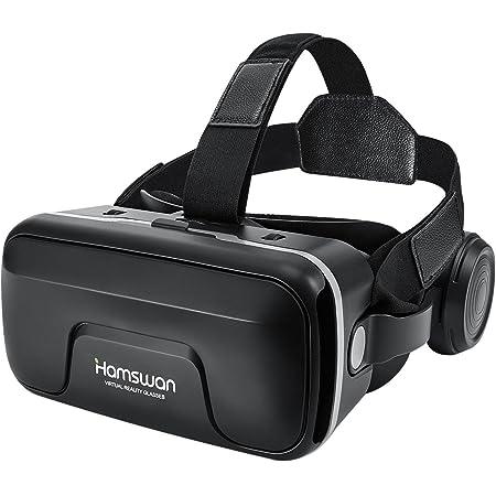 REDSTORM Casque VR, Vue Panoramique en 3D, Qualité d'image HD, Casque Réalité Virtuelle avec Ecouteurs, Compatible avec iPhone/Android, Noir