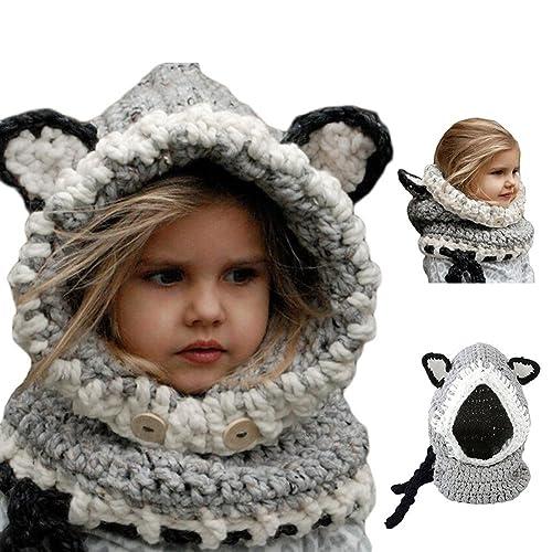 373fdf00506f Bonice Enfants Animal Casquette Manteau Tricot Capuche Cagoule hiver en  laine tricotés chapeaux bébé des Filles