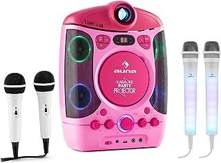 Auna Kara Projectura y Juego de micrófonos Dazzl - Equipo de Karaoke , Juego de Karaoke , Proyector LCD , Efectos Luminosos LED RGB , Puerto USB con MP3 , Efecto Eco , Micrófono , Función AVC , Rosa