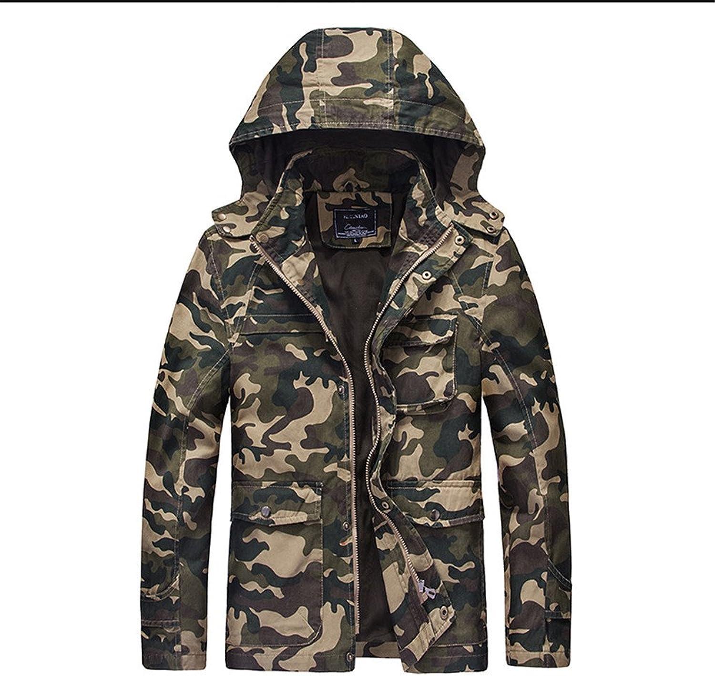 Fjubjv mnner - Mode und lockere Jacke Herrenjacke Mens Winterjacke Kragen und der Wind,Khaki,XXXL