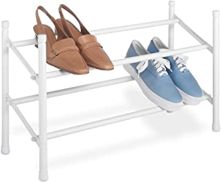 Whitmor 2-Tier Expandable and Stackable Shoe Rack, White