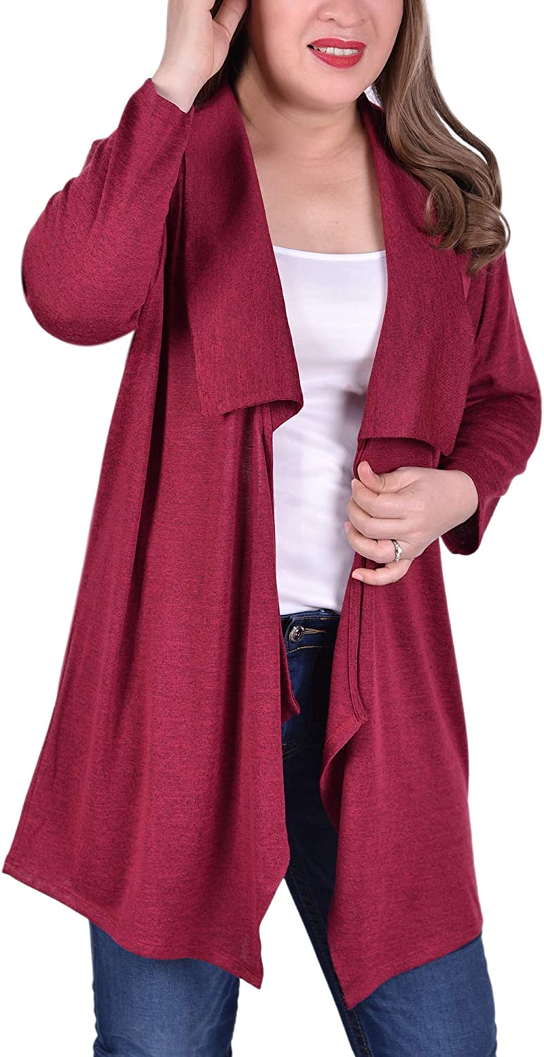 NY Collection Plus Size Elbow Sleeve Wide Lapel Cardigan