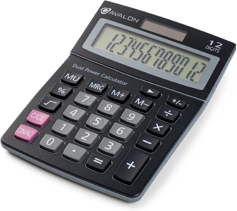 Avalon Max 72% OFF 12 Digit Dual Powered Desktop Calculator Tilted LCD Disp Max 71% OFF