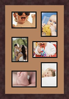 Art to Frames Double-Multimat-517-836//89-FRBW26061 Collage Frame Photo Mat Double Mat with 5-4x6 and 1-5x7 Openings and Espresso Frame