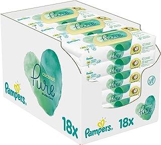 Pampers Pure Coconut Babydoekjes, 18 x 42 Billendoekjes, Met Kokosolie Om Te Reinigen En Te Beschermen