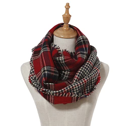 2090801e9109a Lucky Leaf Women Winter Checked Pattern Cashmere Feel Warm Plaid Infinity  Scarf
