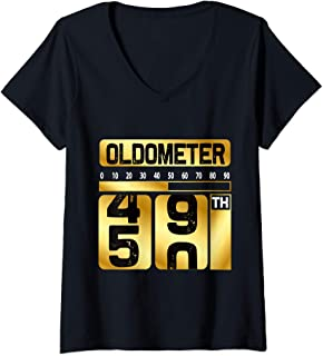 Womens Funny oldometer 49-50 birthday turning 50 half century V-Neck T-Shirt