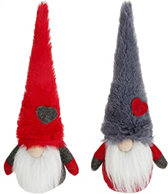 Yopay 2 Pack Handmade Santa Gnome Tomte Plush, Swedish Scandinavian Tomte Nordic Nisse, Thanks Giving Day Gifts, Christmas Elf Home Household Decoration Ornaments, 11.8 Inches High/Red, Grey