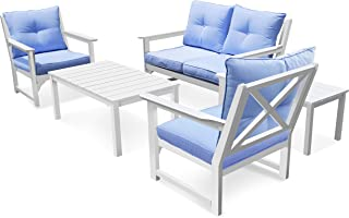 SCYL Color Your Life 5 Piece Outdoor Furniture Sets,Wood Patio/Porch Conversation Set w/Water Resistant Cushions