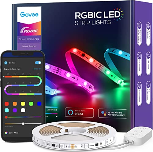 Govee RGBIC Alexa LED Strip Lights Smart Segmented Color Control 16.4ft WiFi App LED Lights Work with Alexa and Google Assistant Music Sync Color Changing Lights for Bedroom Desk and Kitchen