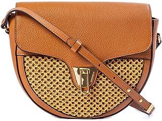 Coccinelle - Damen-Halbmondtasche aus Leder und Papyrus