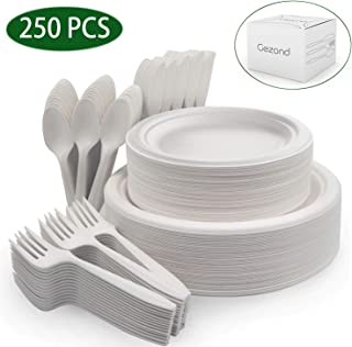 250Pcs Disposable Paper Plates Compostable Sugarcane Cutlery Biodegradable Dinnerware Set for Birthday Party Picnic (White)