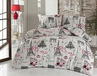 Twin Bedding Set Paris Black and White with Duvet Cover, Cotton Eiffel Tower Lettering Bonjour Je Taime Design, 3 Pieces, Red