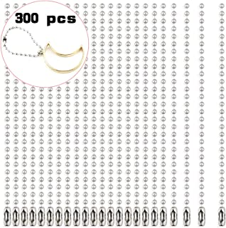 Kuqqi 300pcs 100mm Long 2.4mm Diameter Bead Connector Clasp Ball Chains Keychain Tag Key Rings