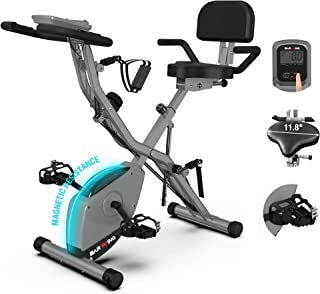 BARWING Foldable Exercise Stationary Bike, 3-IN-1 Magnetic Upright Workout Bike with Arm Exercise Resistance Bands and Ank...