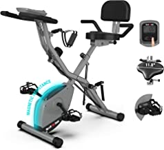 BARWING 16-8-2-3 Foldable Exercise Stationary Bike, 3-IN-1 Magnetic Upright Workout Bike with Arm Exercise Resistance Band...