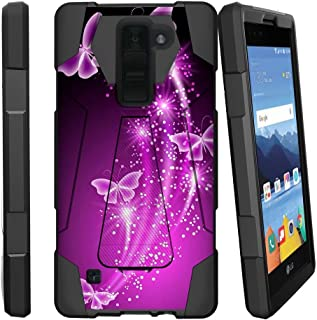 MINITURTLE Compatible with LG K8V Case | K8 V Stand Case [Shock Fusion] [Shock Absorption | Impact Resistant] Hybrid Dual Layer Armor Case Cover w/Stand Hot Purple Butterfly
