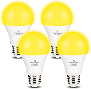 Hansang A19 LED Bug Light Bulb Yellow Color Bulb,7 Watt (60W Equivalent) E26 Medium Base Outdoor Porch Lights, Amber Bedroom Night Light Bulb Bugs Free Bulbs,4 Pack