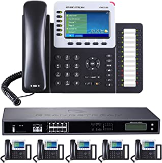Business Phone System: 8-Line Ultimate Pack with Auto Attendant, Voicemail, Cell & Remote Phone Extensions, Call Recording & 1 Year Free Mission Machines Phone Service (6 Phone Bundle)