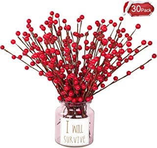DearHouse 30pcs Artificial Red Berry Stems Holly Christmas Berries for Festival Holiday Crafts and Home Decor, 19.5 Inches Burgundy Berry Floral Christmas Tree Decorations