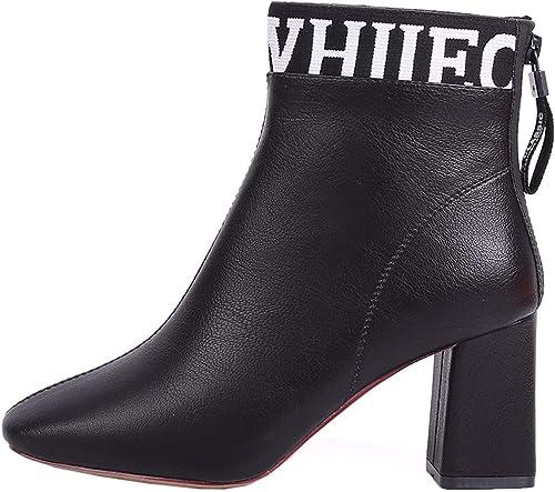 HBDLH Chaussures pour Femmes Milieu Talon Martin Bottes La Hauteur du Talon De 7 Cm D'épaisseur Au Pied 100 Séries Tête Ronde Velours Bref des Bottes
